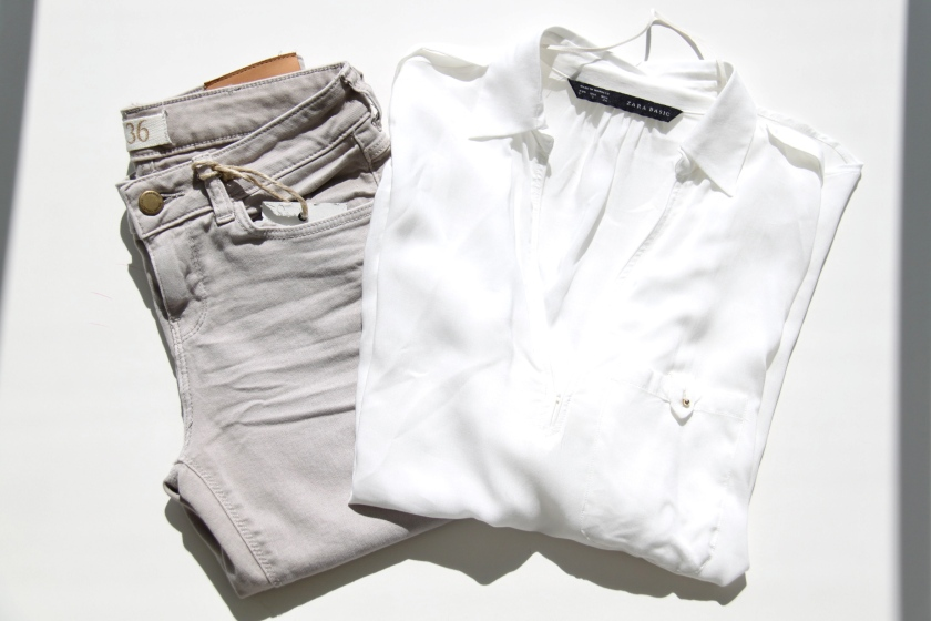 white shirt, zara, trousers, beige