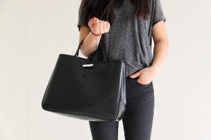 urban outfitters shirt, longchamp bag, zara trousers